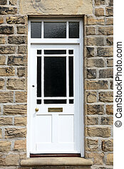 White Front Door of an Old English House