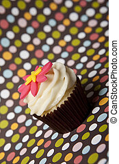 cupcake with colorful background