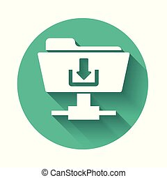 White FTP folder download icon with long shadow. Concept of software update, transfer protocol, router, teamwork tool management, copy process. Green circle button. Vector Illustration