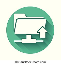 White FTP folder upload icon isolated with long shadow. Concept of software update, transfer protocol, router, teamwork tool management, copy process. Green circle button. Vector Illustration