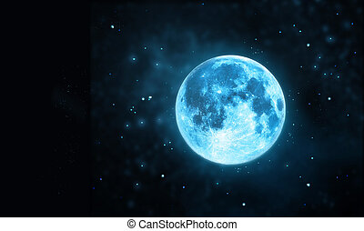 White full moon atmosphere with star at dark night sky background, Original image from NASA. gov