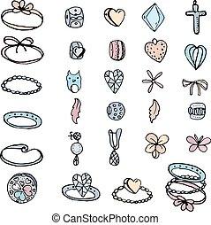 white., fundo, pretas, anéis, color., isolado, contas, jogo, woman., branca, stylized, contorno, azul, charmes, cor-de-rosa, amarela, objetos, jovem