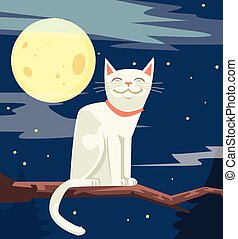 White funny cat character sitting on tree branch. Vector flat cartoon illustration