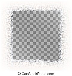 White fur frame background with empty space. Fluffy vector frame.