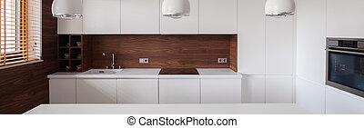 White furnished kitchen interior - Panorama of white...