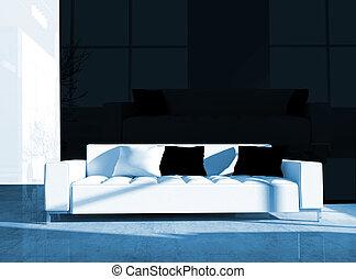 White furniture in black office