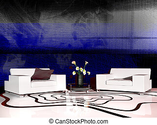 White furniture in modern interior