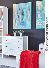 White furniture in the room