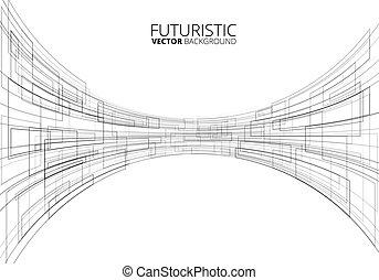 White Futuristic Sci-Fi Perspective Vector Background