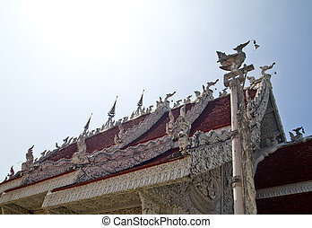 White gable apex on Temple roof in Traditional Thai style