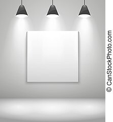 White gallery interior with frame. Wall and picture,...