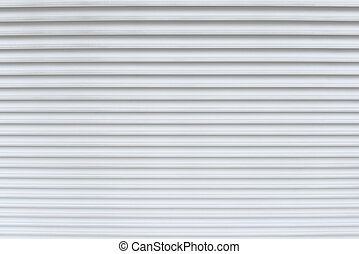 White garage door stripped texture metal background.