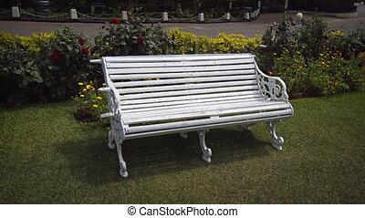 White Garden Bench at a Luxury Resort in Sri Lanka