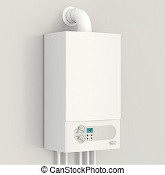 White gas boiler. Heating house