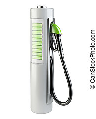 White gas pump - Battery. Use of nonconventional energy sources.