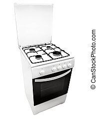 white gas-stove - white gas cooker over the white background