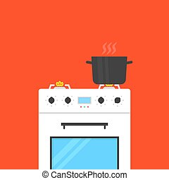 white gas stove with boiling water in pan