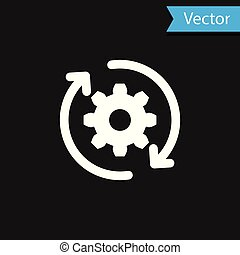 White Gear and arrows as workflow concept icon isolated on black background. Gear reload sign. Vector Illustration