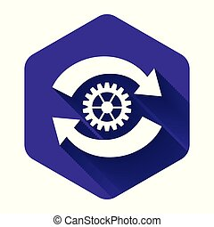 White Gear and arrows as workflow concept icon isolated with long shadow. Gear reload sign. Purple hexagon button. Vector Illustration