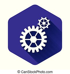 White Gear icon isolated with long shadow. Cogwheel gear settings sign. Cog symbol. Purple hexagon button. Vector Illustration