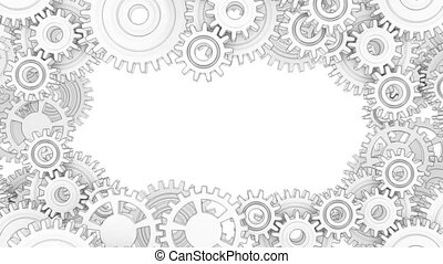 White gears form a frame. Background of the mechanisms. - ...