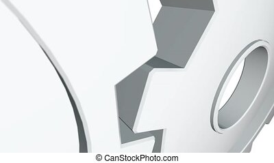 White gearwheel spin. White background. Alpha channel. Close...