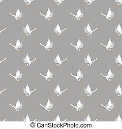 White Geese Seamless Pattern on Grey Background. Animal Bird...
