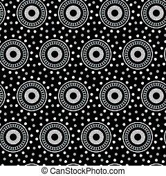 White geometric circle seamless pattern on a black background