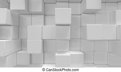 White geometric cubical abstract background, 3d rendering 4k animation