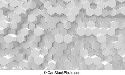 White geometric hexagonal abstract background, 3d rendering...