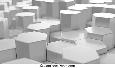 White geometric hexagonal abstract background, 3d rendering 4k animation