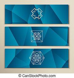White geometric shapes on a triangular background.