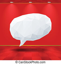 White geometric speech bubble in the room