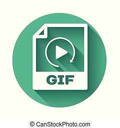 White GIF file document icon. Download gif button icon isolated with long shadow. GIF file symbol. Green circle button. Vector Illustration