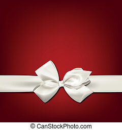 White gift bow. - Gift white ribbon with bow over red...