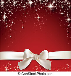White gift bow on red.