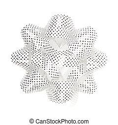 White gift bow with white polka dots