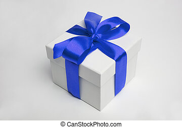 gift box and blue ribbon