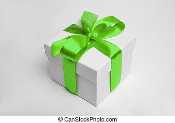 gift box and green ribbon