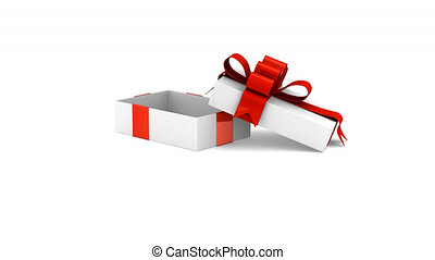 White gift box and hearts. 3D render