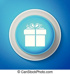 White Gift box icon isolated on blue background. Circle blue button with white line. Vector Illustration