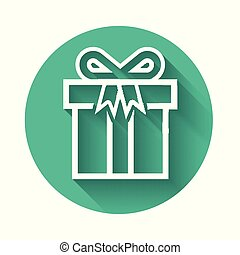 White Gift box icon isolated with long shadow. Green circle button. Vector Illustration