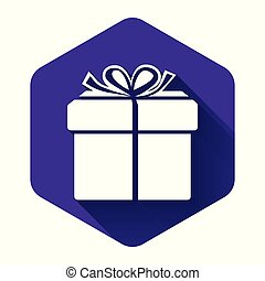 White Gift box icon isolated with long shadow. Purple hexagon button. Vector Illustration