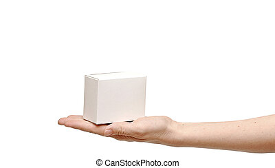white gift box on woman hand