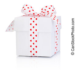 White gift box tied satin ribbon bow with heart symbol Isolated