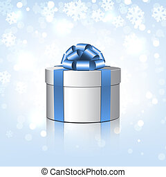White gift box with a blue bow.
