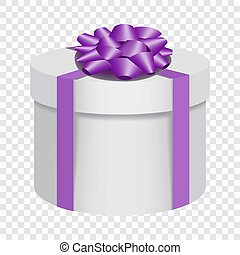 White gift box with a purple bow icon, flat style