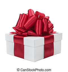 White gift box with a red bow isolated on white background