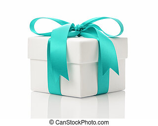 white gift box with azure ribbon bow