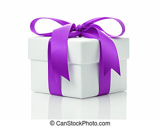 white gift box with lavender ribbon bow